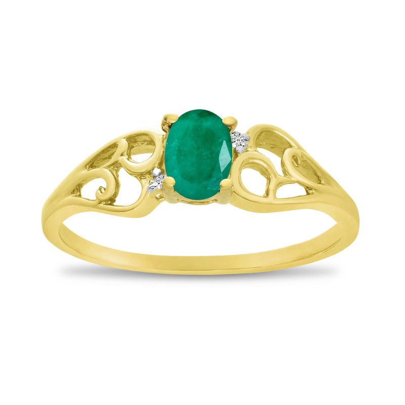 14k Yellow Gold Oval Emerald And Diamond Ring