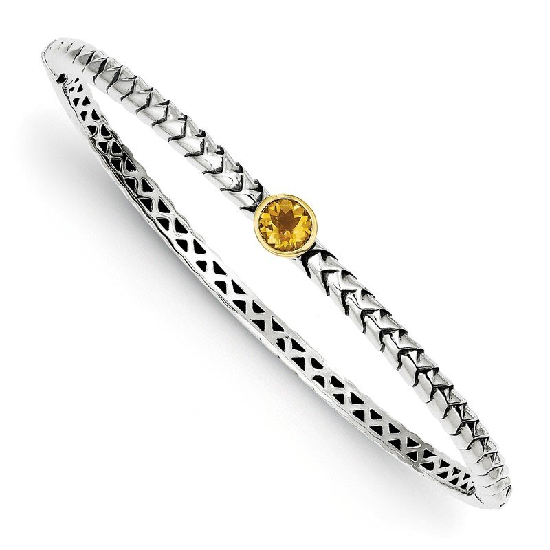 Shey Couture Sterling Silver w/14k 6mm Citrine Hinged Bangle Bracelet