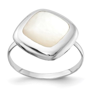 Sterling Silver Rhodium-plated Moon Mother of Pearl Ring