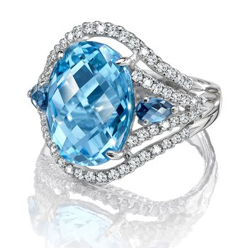 Blue Topaz & London Blue Topaz Statement Ring in 14K White Gold