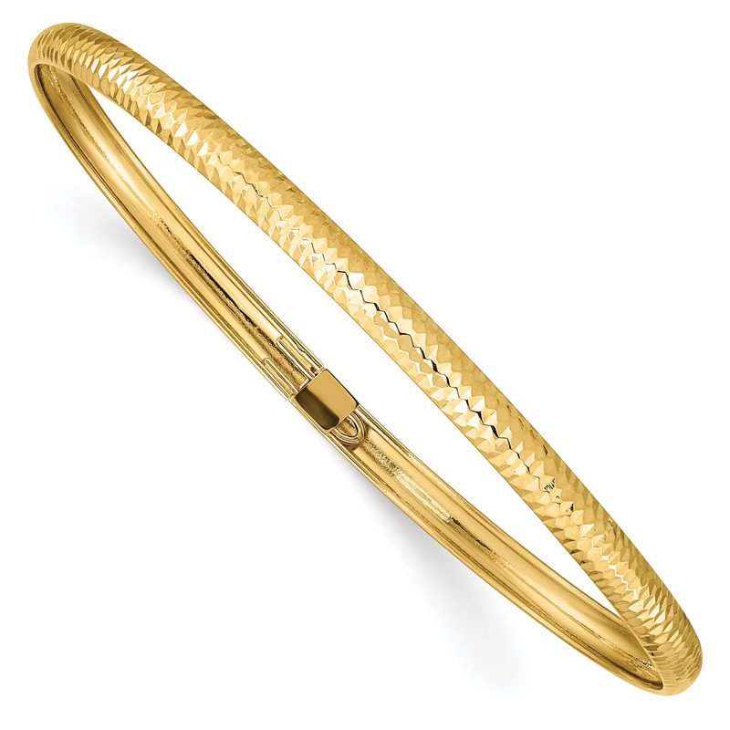 Quality Gold 14k Textured Flexible Bangle