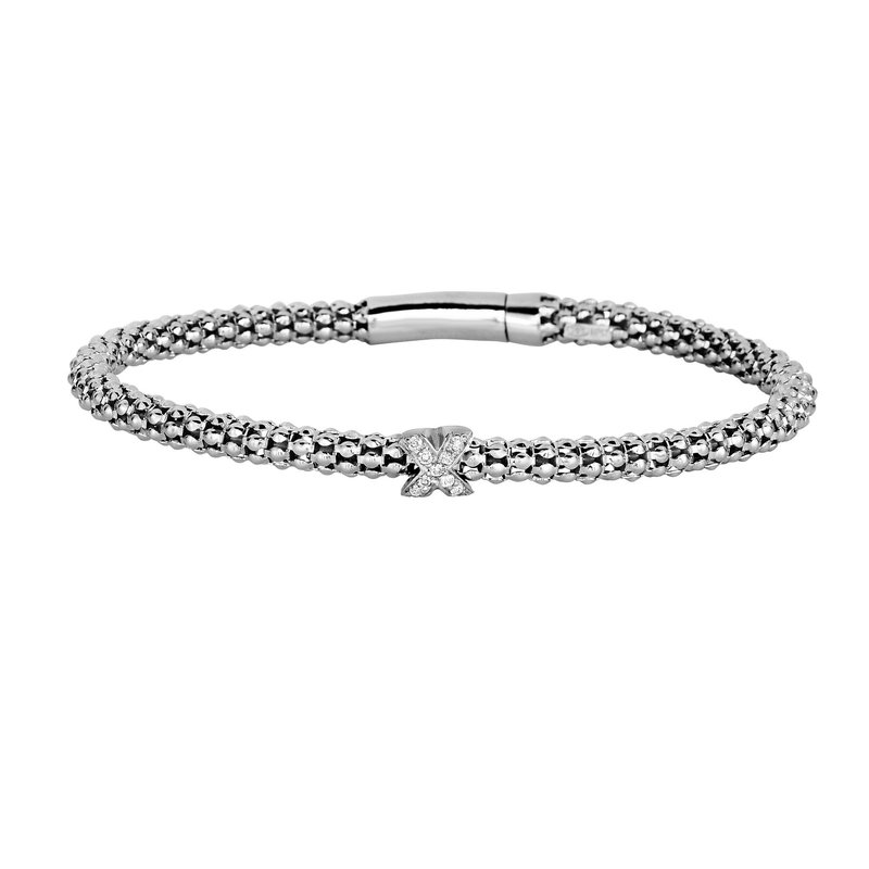 Royal Chain Sterling Silver .09ct. Dia Popcorn Bangle