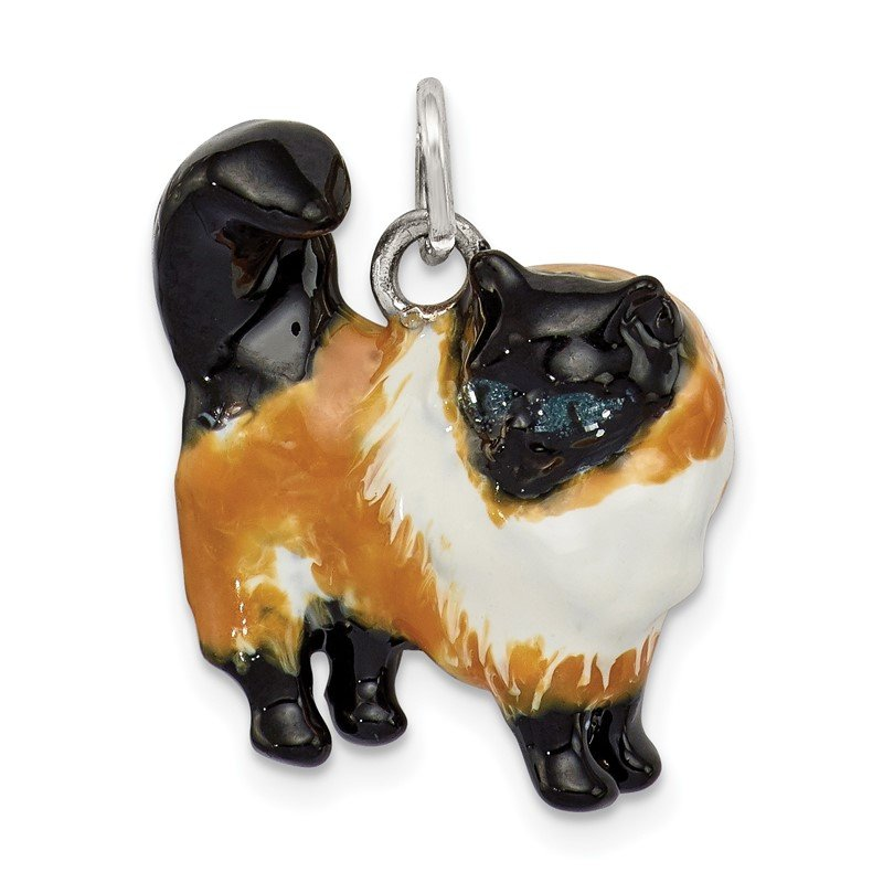 Quality Gold Sterling Silver Enameled Calico Cat Charm