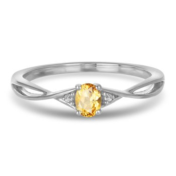 10K WG and diamond and Citrine infinity style birthstone ring