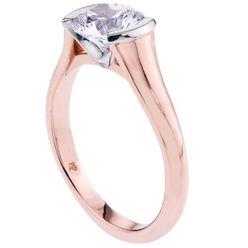 Rose Gold & Platinum Bezel Set Solitaire Engagement Ring