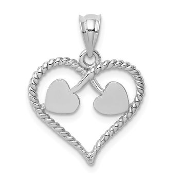 14K White Polished and Twisted Heart Pendant
