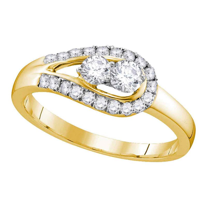 Kingdom Treasures 10kt Yellow Gold Womens Round Diamond 2-stone Bridal Wedding Engagement Ring 1/2 Cttw