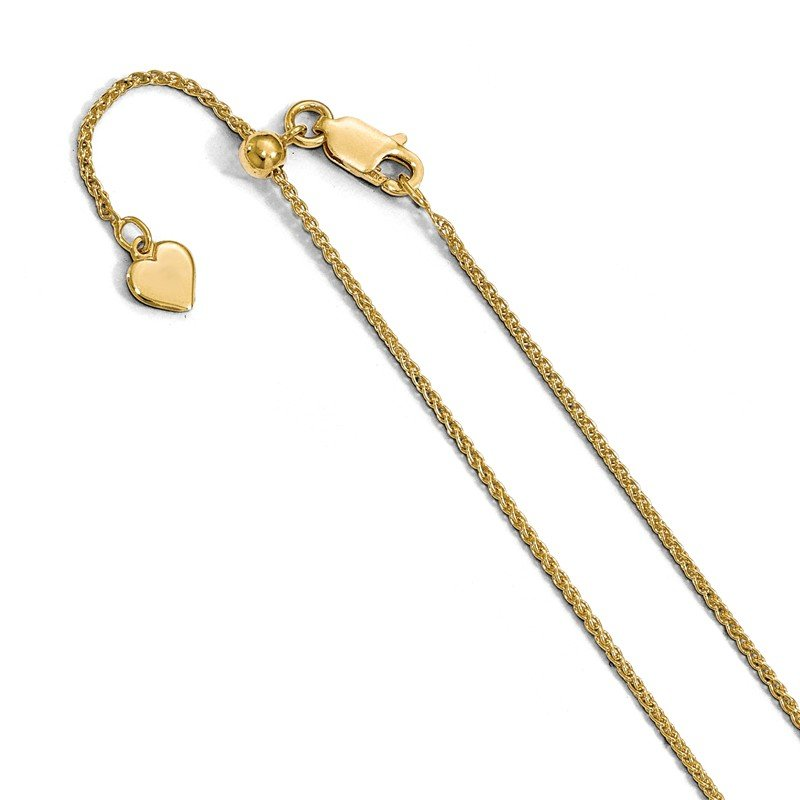 Leslie's Leslie's Sterling Silver Adjustable Gold-plated 1.3mm D/C Wheat Chain