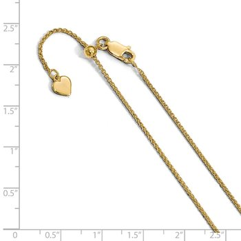 Leslie's Sterling Silver 1.3 mm Gold-plated Adjustable Wheat Chain