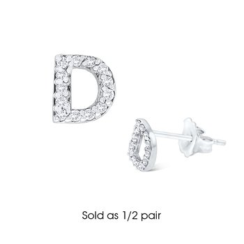 "Diamond Single Initial ""D"" Stud Earring (1/2 pair)"