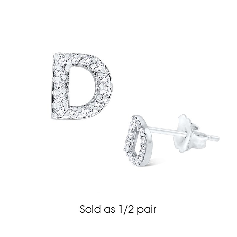 "KC Designs Diamond Single Initial ""D"" Stud Earring (1/2 pair)"