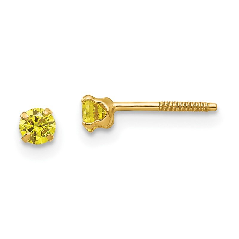Quality Gold 14k Madi K 3mm Synthetic Citrine Earrings