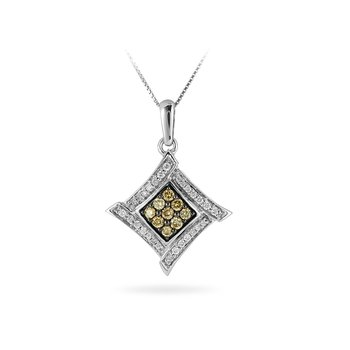 14K WG Wh Diamond & Champagne Diamond Pendant