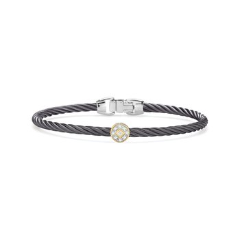 Steel Grey Cable Essential Stackable Bracelet with Single Round Diamond Station set in 18kt Yellow Gold