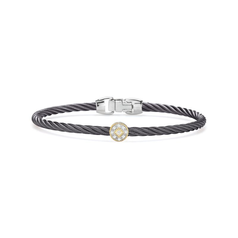 ALOR Steel Grey Cable Essential Stackable Bracelet with Single Round Diamond Station set in 18kt Yellow Gold