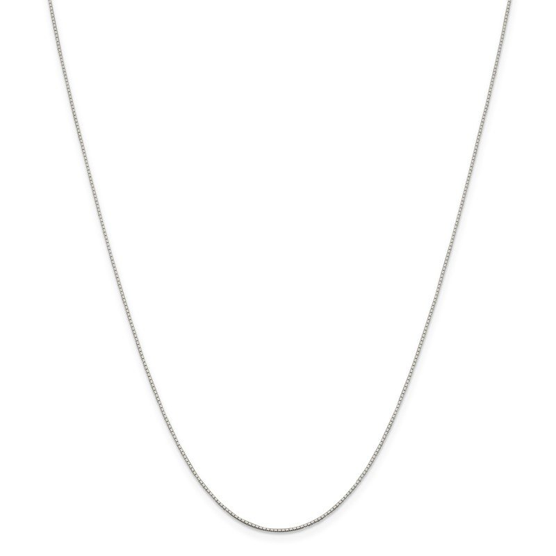 Quality Gold Sterling Silver Rhodium-plated .6mm Mirror Box Chain w/2in ext.