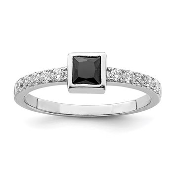 Sterling Silver Rhod-plated Black and White CZ Ring