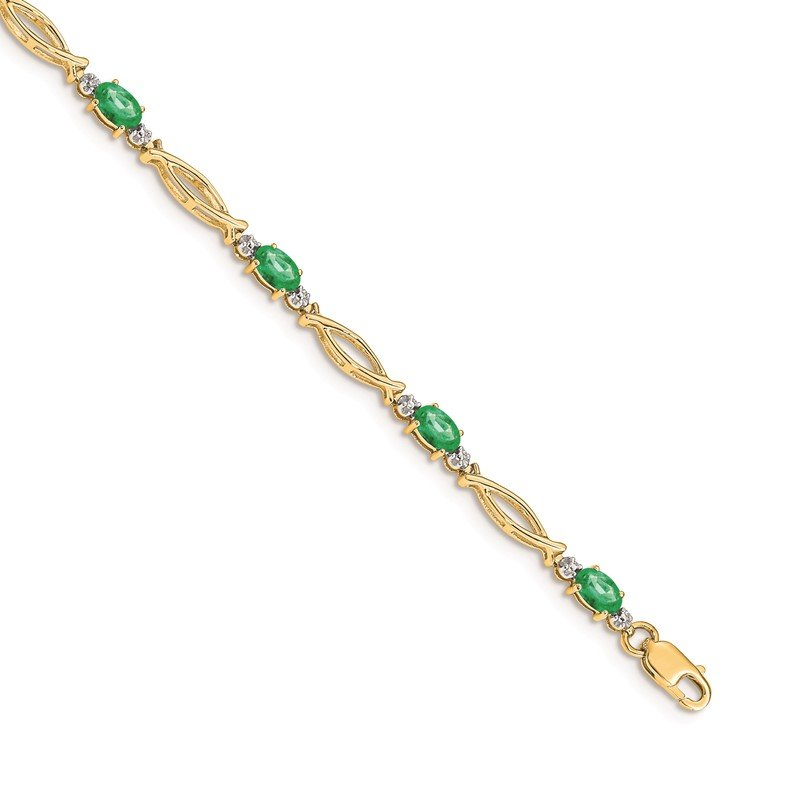 Quality Gold 14k Diamond and Emerald Bracelet