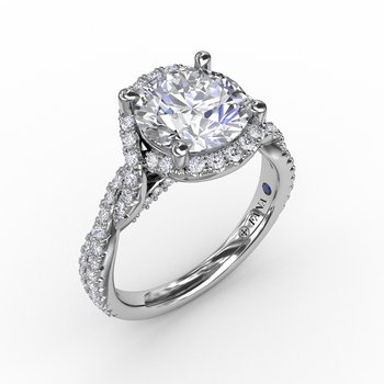 Contemporary Round Diamond Halo Engagement Ring With Twisted Vine Shank