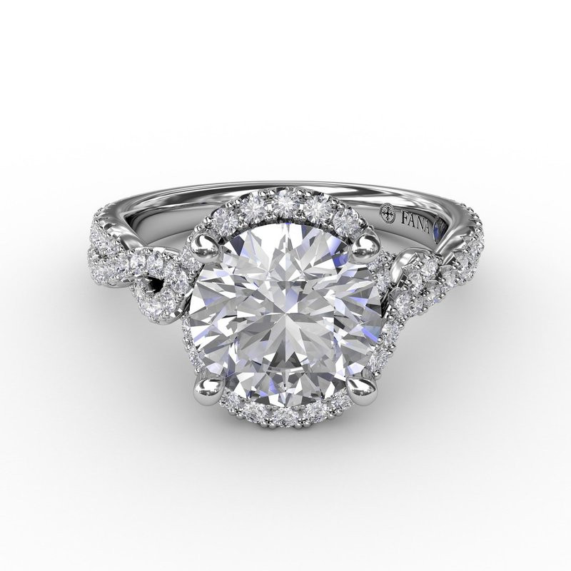 Fana Contemporary Round Diamond Halo Engagement Ring With Twisted Vine Shank