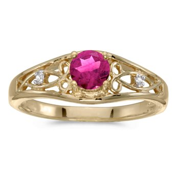 14k Yellow Gold Round Pink Topaz And Diamond Ring