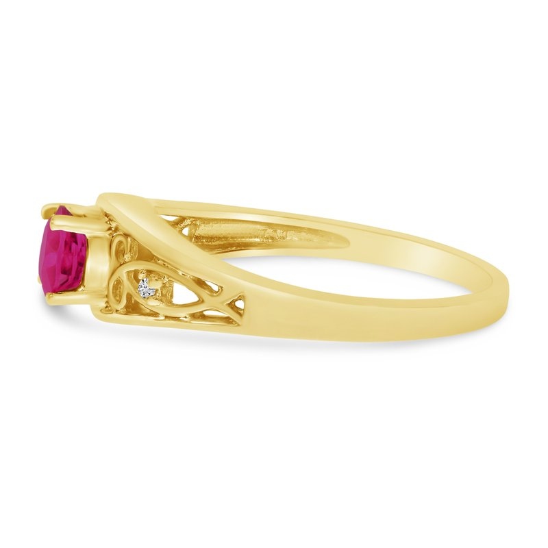 Color Merchants 14k Yellow Gold Round Pink Topaz And Diamond Ring
