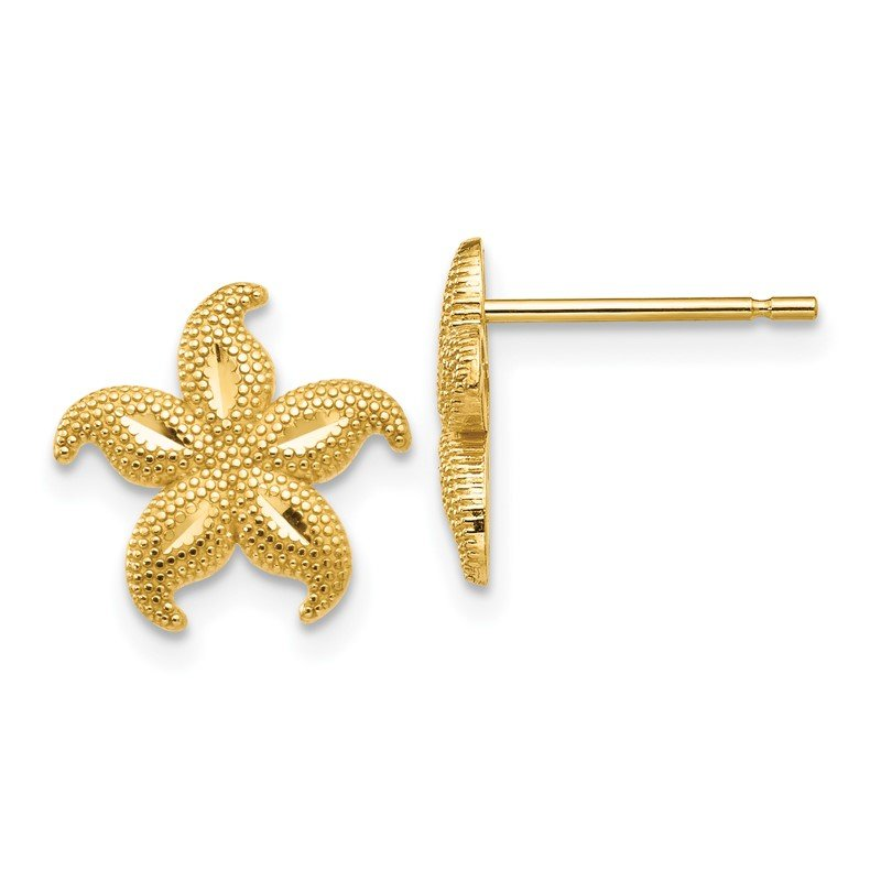 Quality Gold 14 Gold Polished & Textured Starfish Post Earrings