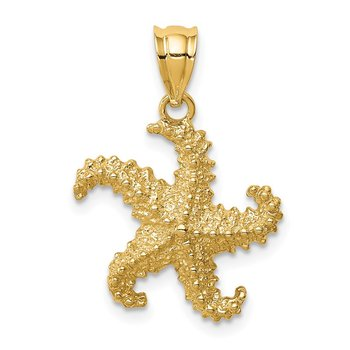 14K Polished & Textured Starfish Pendant