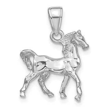14k White Gold Solid Polished 3-D Horse Charm