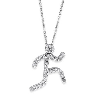 Diamond Large Running Man Necklace in 14k White Gold with 29 Diamonds weighing .15ct tw.