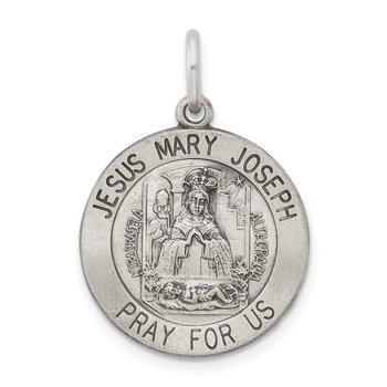 Sterling Silver Antiqued Holy Family Medal