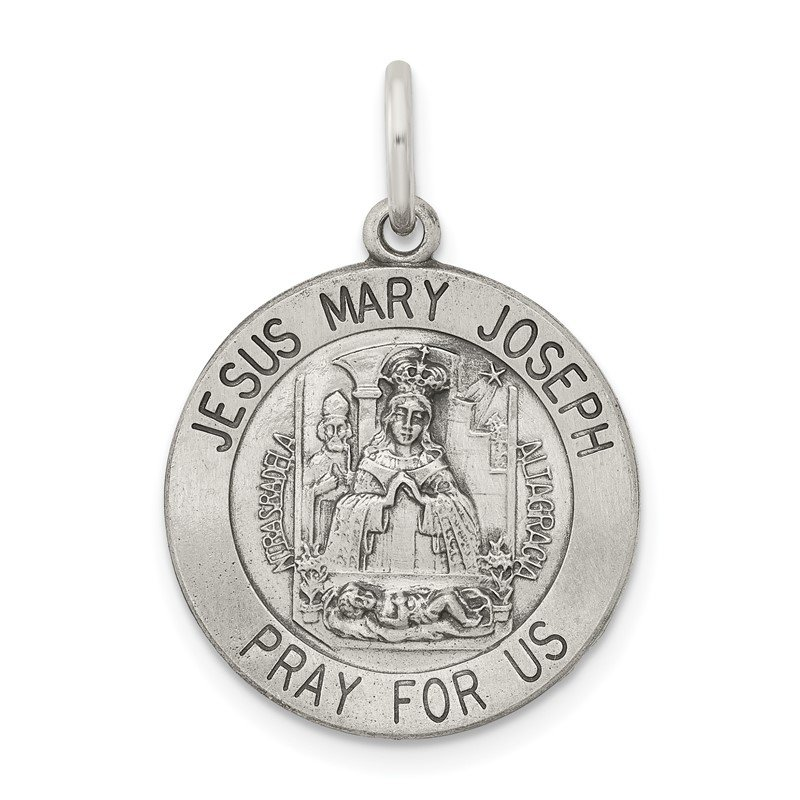 Quality Gold Sterling Silver Antiqued Holy Family Medal