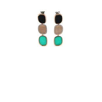 18Kt Gold Earrings With Black Jade, Diamonds And Green Agate