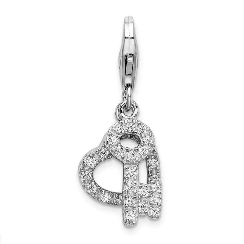 Quality Gold Sterling Silver RH CZ Heart and Key w/Lobster Clasp Charm