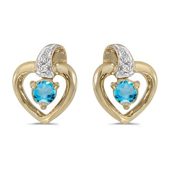 14k Yellow Gold Round Blue Topaz And Diamond Heart Earrings