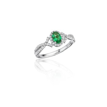 Swirls of Love Emerald and Diamond Twist Ring