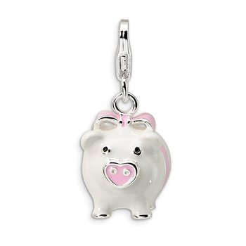 Sterling Silver 3-D Enameled Pig w/Lobster Clasp Charm