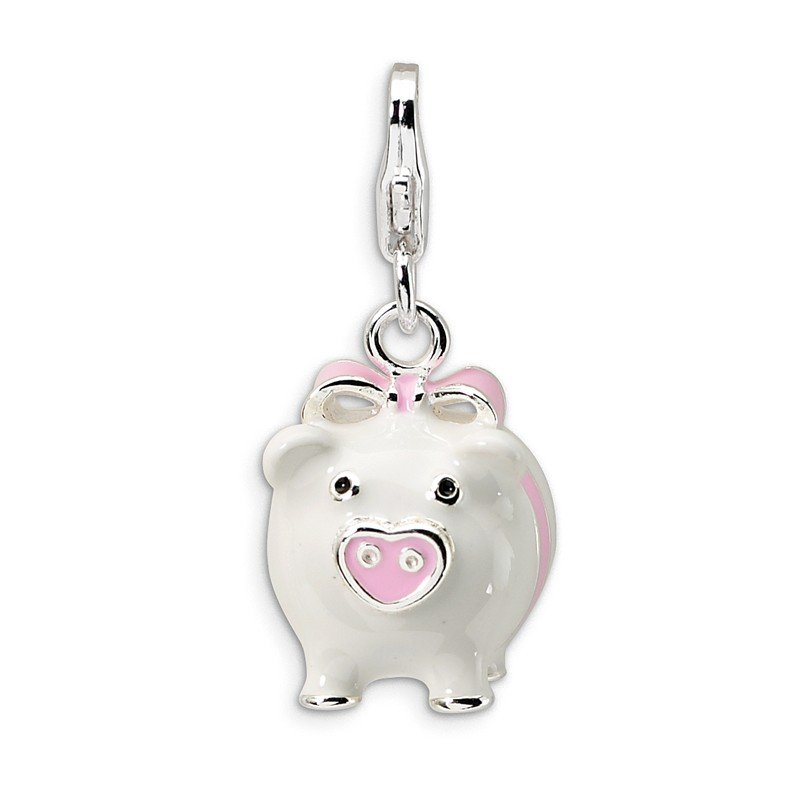 Quality Gold Sterling Silver 3-D Enameled Pig w/Lobster Clasp Charm