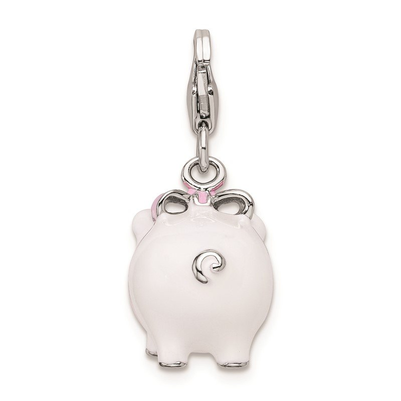 Quality Gold Sterling Silver RH 3-D Enameled Pig w/Lobster Clasp Charm