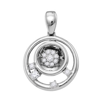 10kt White Gold Womens Round Diamond Circle Cluster Pendant 1/8 Cttw