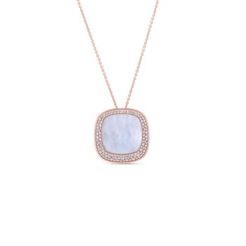 18KT GOLD LARGE PENDANT WITH DIAMONDS AND MOTHER OF PEARL