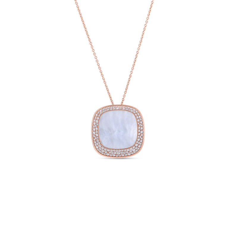 Roberto Coin 18Kt Gold Large Pendant With Diamonds And Mother Of Pearl
