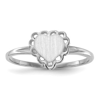 14k White Gold 6.0x6.5mm Open Back Heart Signet Ring