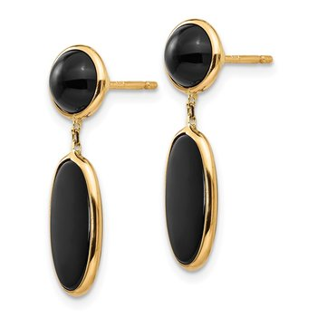 14k Onyx Oval Dangle Post Earrings