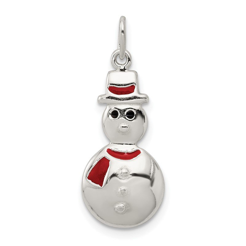 Quality Gold Sterling Silver Polished Enamel Snowman Pendant