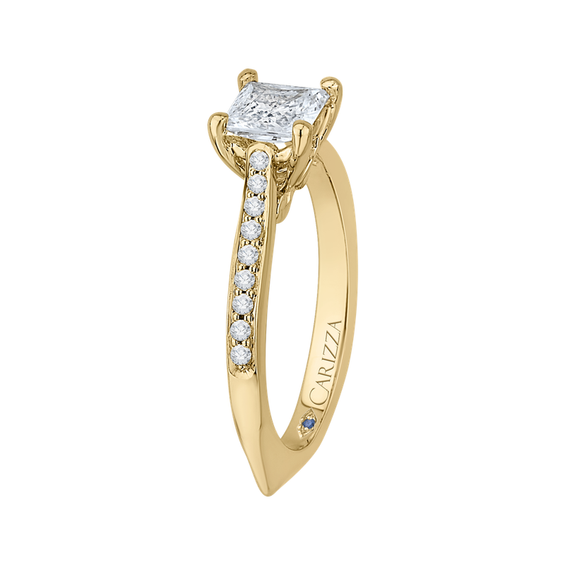 Carizza 14K Yellow Gold Princess Cut Diamond Solitaire with Accents Engagement Ring (Semi-Mount)