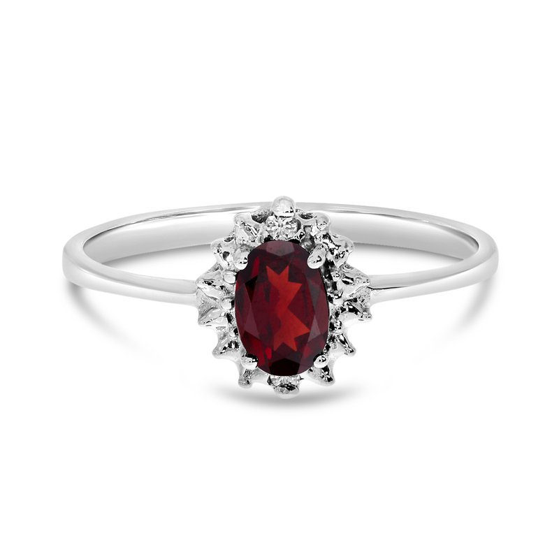 Color Merchants 10k White Gold Oval Garnet And Diamond Ring