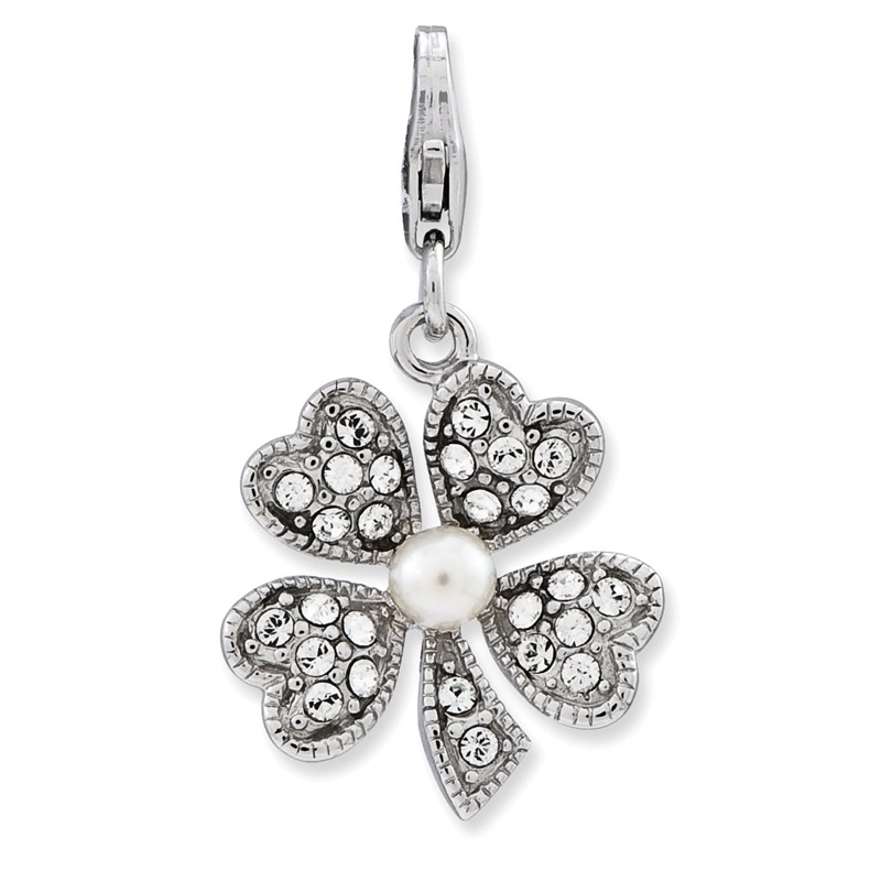 925 Silver Enameled 3-D Shell Freshwater Cultured Pearl w//Lobster Clasp Charm Amore La Vita Collection