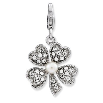 Sterling Silver FW Cultured Pearl Flower w/Lobster Clasp Charm