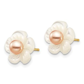 14k 3-4mm Pink FW Cultured Pearl w/10mm MOP Flower Post Earrings